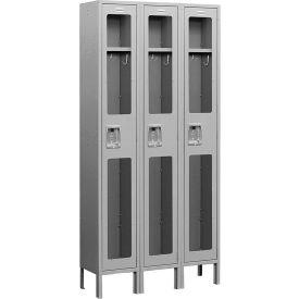 "Salsbury See-Through Metal Locker S-61365 - Single Tier 3 Wide 12""W x 15""D x 72""H Gray Assembled"