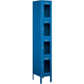 "Salsbury See-Through Metal Locker S-64165 - Four Tier 1 Wide 12""W x 15""D x 18""H Blue Assembled"