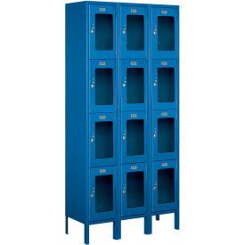 "Salsbury See-Through Metal Locker S-64362 - Four Tier 3 Wide 12""W x 12""D x 18""H Blue Assembled"