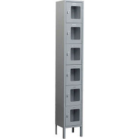 "Salsbury See-Through Metal Locker S-66162 - Six Tier 1 Wide 12""W x 12""D x 12""H Gray Unassembled"