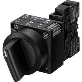 Siemens 3SB3202-2KA11 Selector Switch w/ Contact Block, Blk, 2 Position, Round-Pl., Standard Lev O/X