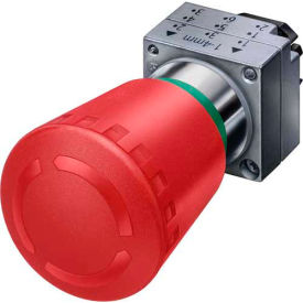 Siemens 3SB3500-1HA20 Pushbutton, Maintained, Red, 40mm, Operator, Round-Metal