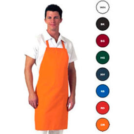 Correctional Bib Apron, 30x34, Blended Twill Fabric, No Pocket, Orange - Pkg Qty 12