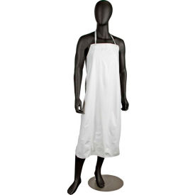 Dishwashing Apron, 36X45, No Pockets, Hd Braided Ties, White, Institutional Quality Vinyl