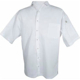 Cook Shirt, 2X, Breast Pocket, Short Sleeve, White