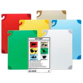 "Saf-T-Grip® Cutting Boards, Red, 12""H x 18""W x 1/2""D - Pkg Qty 6"