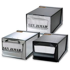 Countertop Napkin Dispensers, 5-1/2 h x 7-5/8 w x 11 d, Chrome Face, Blk Body