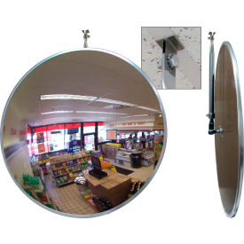 "Se-Kure™ Acrylic Indoor Convex Mirror with ""T"" Bar Clip for Drop Ceilings, 18"" Diameter"
