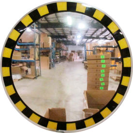 "Se-Kure™ Acrylic Indoor Convex Mirror with Safety Border & T Mounting Bracket, 30"" Diameter"