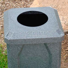 """32 Gal. Square Receptacle 10"""" Recycle Lid, Liner - Blue"""