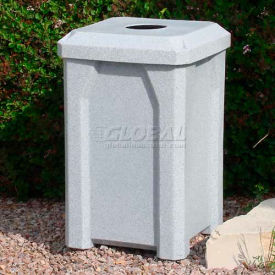 """32 Gal. Square Receptacle 4"""" Recycle Lid, Liner - Green"""