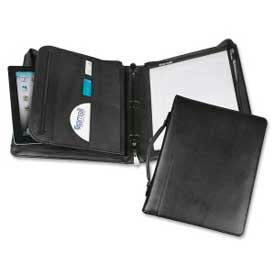 """Samsill® Regal™ Zipper Binder with Handle, 8-1/2"""" x 11"""", Leather Cover, Black"""