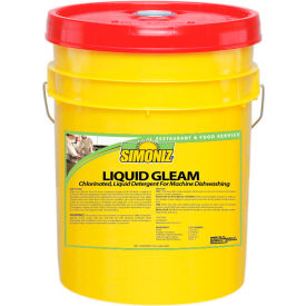 Simoniz® Liquid Gleam Chlorinated Detergent For Machine Dishwashing 5 Gal Pail, 1/Ca - C0720005