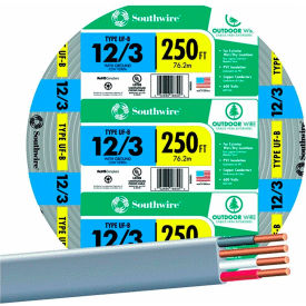 Southwire 13058355 UF-B Underground Feeder Cable, 12/3 AWG, 250 ft
