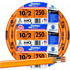 Southwire 28829055 Romex SIMpull ® Cable with Ground, Orange, 10/2 Awg, 30A, 250 ft