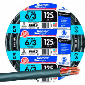 Southwire 63950002 Romex Cable with Ground, 6/3 Awg, 125 ft