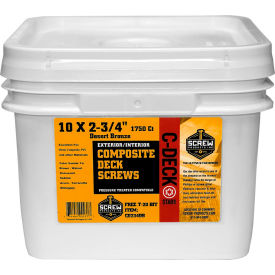 """#10 C-Deck Star Drive CD234WH Coated Composite Deck Screw, 2-3/4"""", White, 1750/Carton - Made In USA"""