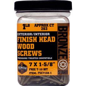"""#7 Bronze Star FSC7158-1 Finish Head Star Drive Screws 1-5/8""""L, 1lb. Carton - Made In USA"""