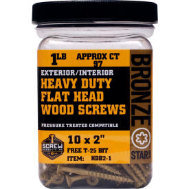 """#10 Bronze Star HDB212-1 Heavy Duty Star Drive Screws 2-1/2""""L, 1lb. Container - Made In USA"""