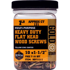 "Screw Products HDY2-5 - #10 Gold Star Heavy Duty Star Drive Wood Screws, 2""L, 5lb. Carton - USA"