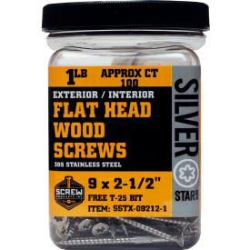 """#9 Silver Star SSTX-09158-1 Standard 305 SS Star Drive Screw 1-5/8""""L, 1lb. Container - Made In USA"""