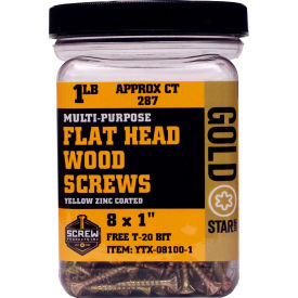 "Screw Products YTX-08100-1 - #8 Gold Star Star Drive Wood Screws, 1""L, 1lb. Carton - Made In USA"