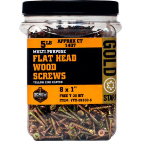 """Screw Products YTX-08100-5 - #8 Gold Star Star Drive Wood Screws, 1""""L, 5lb. Carton - Made In USA"""