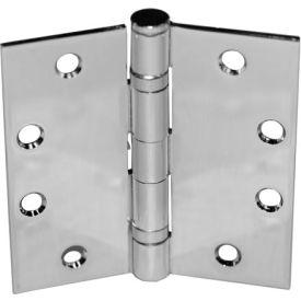 "Ball Bearing Hinge - 4-1/2"" X 4-1/2"" Brass Plated Fixed Pin - Pkg Qty 12"