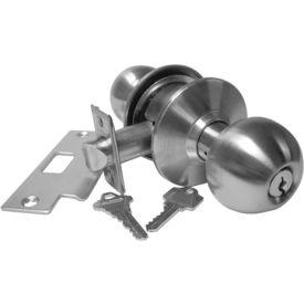 "Hd Cyl. Locksets - Storeroom Lock Stainless Steel 2-3/8"" Bs - Pkg Qty 3"