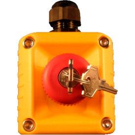 T.E.R., F71EY10000000002 VICTOR Wall Mount Control Station, Yellow, 1 Hole Latched Key Stop