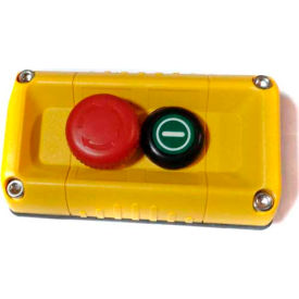 T.E.R., F71FY11000000001 VICTOR Wall Mount Control Station, Yellow, 2 Hole, E-Stop + Start