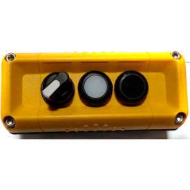 T.E.R., F71GY00020001011 VICTOR Wall Mnt. Control Station, Yellow, 3 Hole, 3 Pos. Selector+2 Funct.