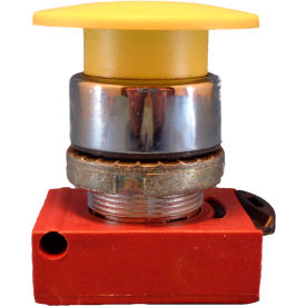 Springer Controls N5CEM4GN10, Mushroom Head-Momentary Push-Button Yellow, w/ Contact