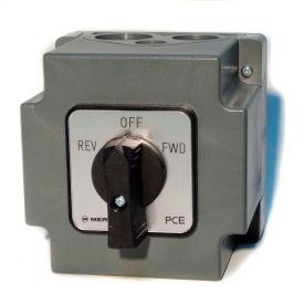 Springer Controls/MERZ W151/7-I2-CA,20A,3-POLE,Encl. Reversing Switch,Spring-Return Lever Handle