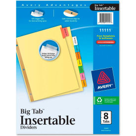 """Avery WorkSaver Big Tab Insertable Divider, Blank, 8.5""""x11"""", 8 Tabs, Multicolor"""