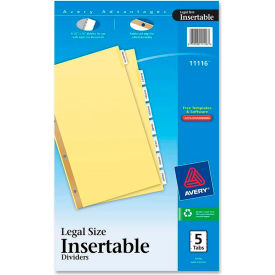 "Avery WorkSaver Standard Insertable Tab Divider, Blank, 8.5""x14"", 8 Tabs, Buff"