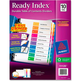 """Avery Ready Index T.O.C. Reference Divider, 1 to 10, 8.5""""x11"""", 10 Tabs, White/Multi"""