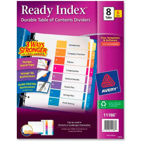 """Avery Ready Index T.O.C. Reference Divider, 1 to 8, 8.5""""x11"""", 8 Tabs, 6 Sets, White/Multi"""