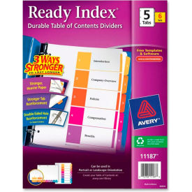 """Avery Ready Index T.O.C. Reference Divider, 1 to 5, 8.5""""x11"""", 5 Tabs, 6 Sets, White/Multi"""