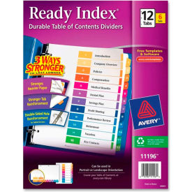 """Avery Ready Index T.O.C. Reference Divider, 1 to 12, 8.5""""x11"""", 12 Tabs, 6 Sets, White/Multi"""