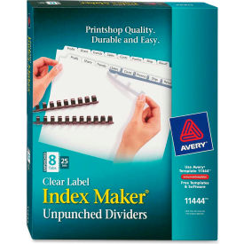 """Avery Index Maker Clear Label Divider, Blank, 8.5""""x11"""", 8 Tabs, 25 Sets, White/White"""