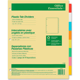 """Avery Office Essentials Economy Insertable Tab Divider, 8.5""""x11"""", 8 Tabs, Buff, Translucent/Multi"""