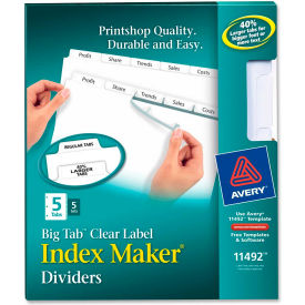 """Avery Big Tab Index Maker Clear Label Divider, 8.5""""x11"""", 5 Tabs, 5 Sets, White/White by"""