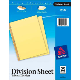 "Avery Gold Line 3-Hole Reinforced Sheet Divider, 8.5""x11"", 25 Tabs, Buff Divider"