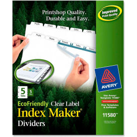 """Avery Eco-friendly Index Divider, Print-on, 8.5""""x11"""", 5 Tabs, 5 Sets, White/White by"""