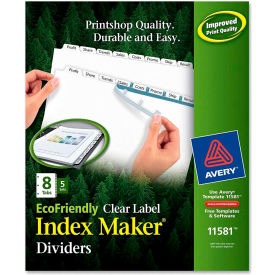 """Avery Eco-friendly Index Divider, Print-on, 8.5""""x11"""", 8 Tabs, 5 Sets, White/White by"""