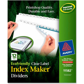 """Avery Eco-friendly Index Divider, Print-on, 8.5""""x11"""", 12 Tabs, 5 Sets, White/White by"""