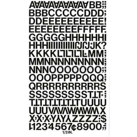 "Chartpak Vinyl Letters & Numbers, CHA01010, 1/2""H, Black, Helvetica Font, 201 Pcs"