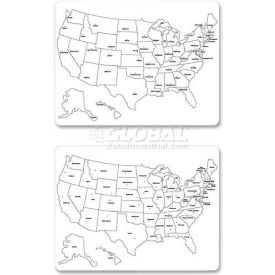 "ChenilleKraft 2-Sided Large USA Map Whiteboard, CKC9873, 23.63"" x 18"", Dry Earse White Board"