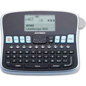 "Dymo® Label Maker, 1754488, 2 Lines Screen, 3 Fonts, 7-3/4"" X 5-7/8"" X 2-3/4"", Black/Silver"